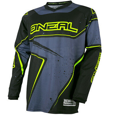 New 2017 Oneal Element Motocross Jersey Racewear Black Grey Neon Yellow Large