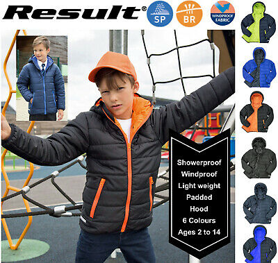 RESULT Kids Ages 2-14 - Coat Jacket with Hood, Insulated Windproof Showerproof *