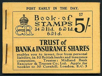 1936 KEVIII 5/- Buff Booklet STAPLED - Scarce! BC4