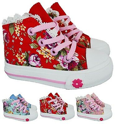 Girls Hi Tops Trainers Infants Kids Canvas Inner Zip Flower Ankle Boots Shoe 3-2