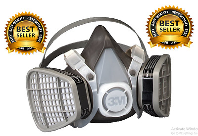 Dust Paint Mask Half Face Respirator Filter Spray Protect Smoke Gas Large 3M New