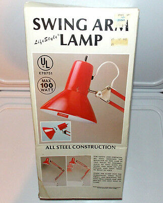 Vintage 1985 Industrial Adjustable Red Swing Arm Lamp Drafting Table Desk Light