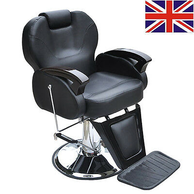 Black Hydraulic Barber Reclining Salon Chair Hairdressing Beauty Furniture UK