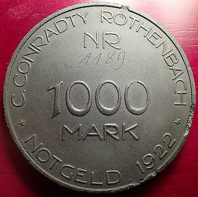Rare 1922 1000 Mark C. Conradty Rothenbach Notgeld Made of Compressed Coal Dust!
