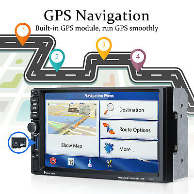 2Din 7.0'' Reproductor MP5 Bluetooth Coche Navegador GPS Autoradio FM AUX-IN/USB
