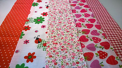 10 x Ladybird Red Fabric Jelly Roll Strips Polycotton Patchwork Quilting