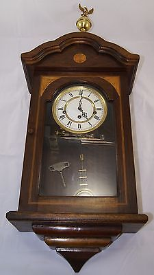 Vintage Wooden RA Pendulum HERMLE German Wall Clock With Marquetry Detailing.