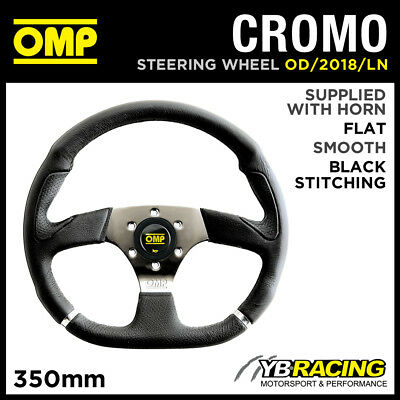 OD/2018/LN OMP CROMO SPORT STEERING WHEEL 350mm CHROME SPOKES in SMOOTH LEATHER!