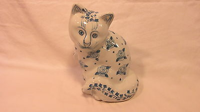 SITTING PORCELAIN CAT DECORATED w/ LIGHT BLUE ROSES