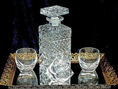 Classic Vintage Crystal Whisky Decanter & Glasses Bohemia C 1960's