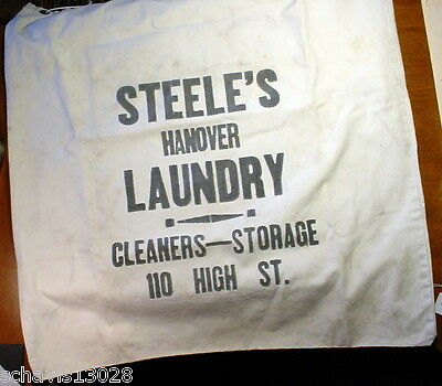 Steele's Hanover Laundry Cleaners Storage High St PA Vintage Cloth Bag Nice Draw