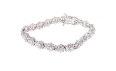 """QVC Epiphany Sterling Silver Simulated Diamond 6.30 ct tw 7"""" Bracelet"""