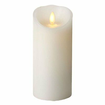 """Luminara 3"""" x 6"""" White Unscented Wavy Edge Real-Flame Effect Flameless Candle"""