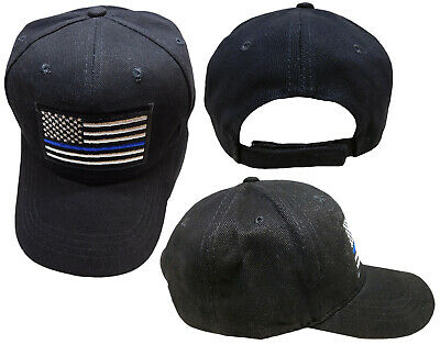 Thin Blue Line USA Police Memorial USA American Black Embroidered Cap Hat