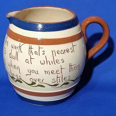 Vintage WATCOMBE TORQUAY SCANDY Motto Ware - Hand Painted PITCHER / JUG
