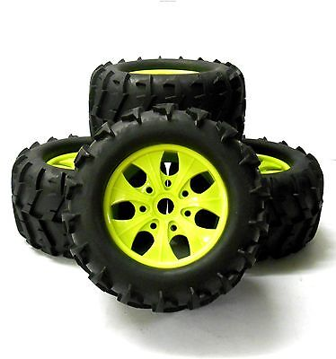 810003 1/8 Scale Off Road RC Monster Truck Wheels and Tyres x 4 Light Green