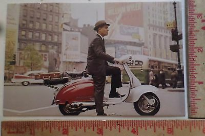 Vintage Scooter Man postcard motorcycle collectible old Vespa motorbike card
