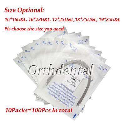 100Pcs Dental Super Elastic NITI Orthodontic Arch Wire Ovoid Form Rectangular