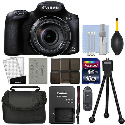 Canon PowerShot SX60 HS 16.1MP Digital Camera 65x Optical Zoom + 16GB Kit