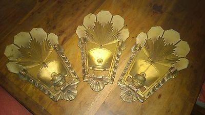 3 Bronze Art Deco Wall Lights Sconces  Stamped R Williamson & Co Chicago