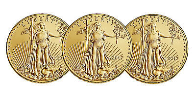 Lot of 3 - 2017 $5 1/10oz Gold American Eagle BU