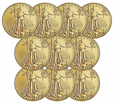 Lot of 10 - 2017 $5 1/10oz Gold American Eagle BU