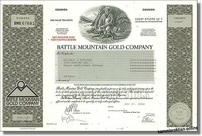 Battle Mountain Gold Company Houston Texas, Pennzoil, Hemlo Gold - seltene Aktie