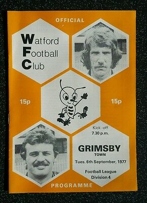 Watford vs Grimsby Town 1977/1978 Division 4 Programme 77/78