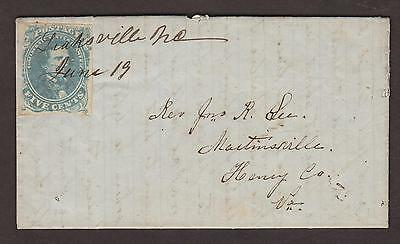 Confederate: Leaksville, NC 1862 CSA #4 Folded Letter Cover, Ms