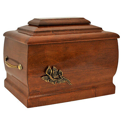 Solid Wood Casket with Brass Calla Lily.Funeral Urn For Ashes.Cremation Urn