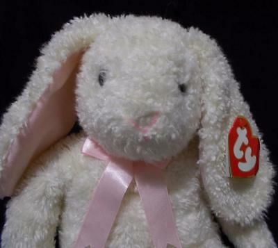 """Ty Curly Classic Bunny Plush Retired White Stuffed Animal 18"""" Tall 1991"""