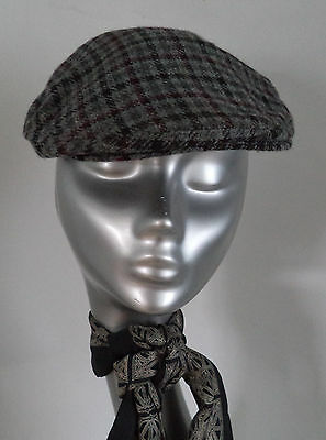 2e79a00c425 Mens Bronte Grey Check Flat Cap Hat Wool Blend Made In England M