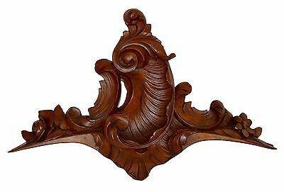 French Antique Rococo Hand Carved Wood Pediment - Shell Louis XV Style