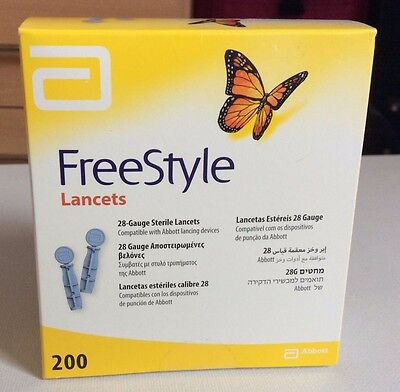 Abbott Freestyle Lancets Lite 28 Gauge Box of 200 **BRAND NEW & SEALED**