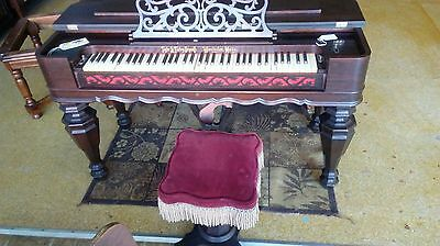 Beautiful Antique Taylor and Farley, Mass. Rosewood Melodeon w/Stool