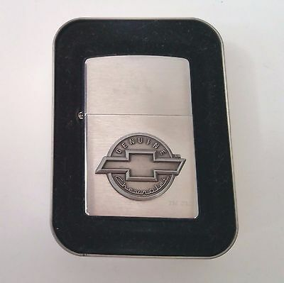 Zippo Lighter Chevy Chevrolet Oval Bow-tie Emblem Brushed Finish New in Tin 2001