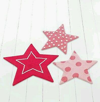 Set of Three Pink Boys Girls Unisex Star Shaped Nursery Rugs Mats NEW Space