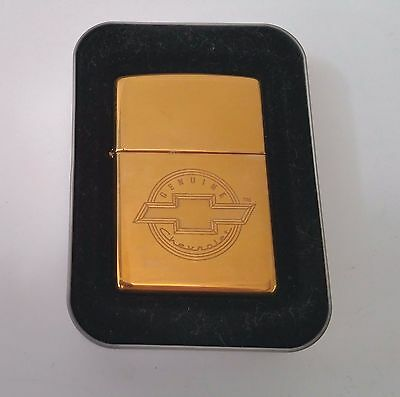 Zippo Lighter Chevy Chevrolet Oval Bow-tie Emblem Brass Finish New in Tin 1999