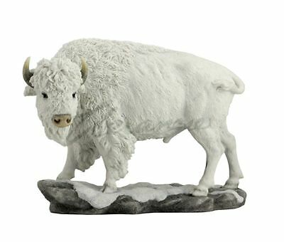 White Bison Statue Sculpture Figure - HOME DECOR