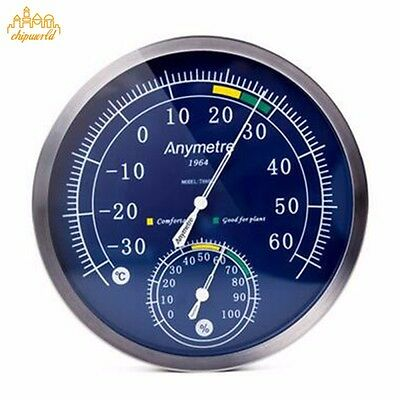 Stainless Steel Thermometer Hygrometer Temperature Meter Household Psychrometer