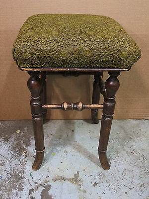 Victorian Turned Beech Stool With Upholstered Seat c.1900 [2310]