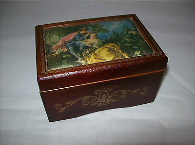 "Vintage Silk Screen Scene Wooden ""love Story"" Musical Trinket Jewelry Box~Japan"