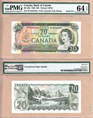 1969 $20 Bank of Canada Multi Color Solid Serial# Note WT4444444 PMG CHUNC64 EPQ