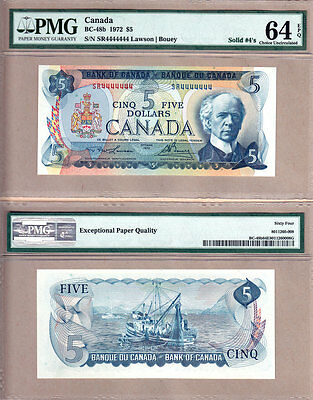 1972 $5 Bank of Canada Multi Color Solid Serial# Note SR4444444 PMG CH UNC64 EPQ