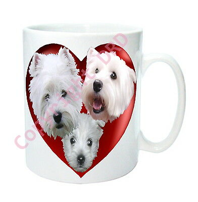 Westie Dog Mug Hearts & West Highland White Terriers, Dogs Valentines Gift