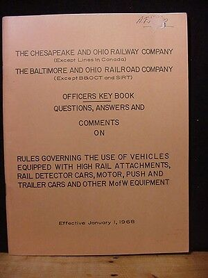 C&O B&O Officers Key Book Questions answers comments on rules governing the use