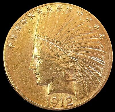 1912 S Gold Us $10 Indian Head Eagle Coin About Uncirculated Condition