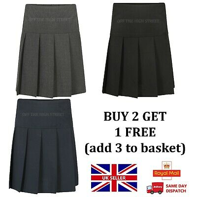 NEW! Girls Pleated School Skirt  School Uniform 2yrs to 16yrs  Navy Grey & Black