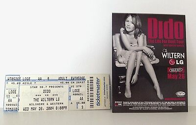 Dido 2004 The Wiltern Concert Ticket & Promotional Postcard Los Angeles Usa