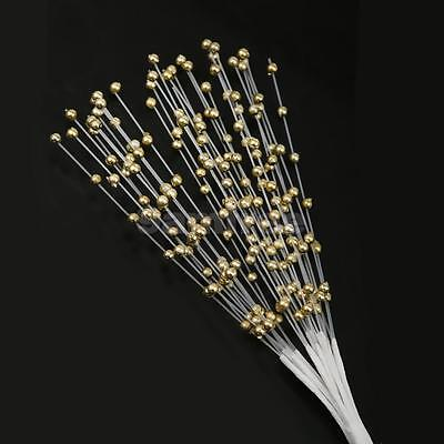 100 Stem Gold Beads Spray on Wire for Wedding Craft Bouquet Table Decor